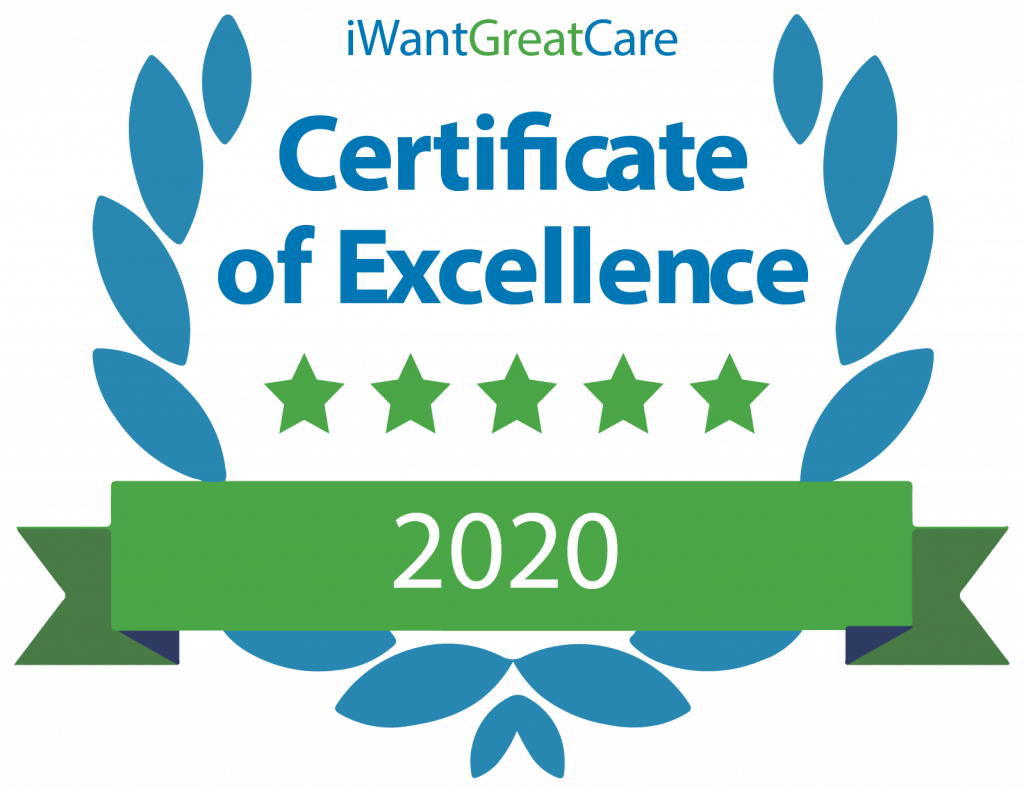 I Want Great Care - Certificate of Excellence 2020